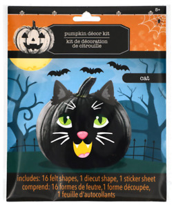 New Halloween Pumpkin Decorating Kit Felt ~ Black Cat