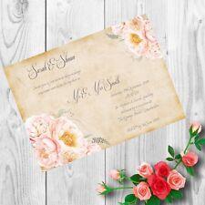 Personalised Handmade Wedding Invitations Invites Day Evening Vintage x 50 AWI6
