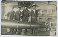 1928 RP POSTCARD NAVAL CHIEF PETTY OFFICERS & TORPEDO ABOARD HMAS CANBERRA  i18