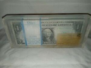 RARE $100 stack bills paperweight 1969 Washington one dollar bill lucite acrylic