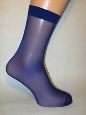 Smooth Sheer Nylon Socks. Lower/Mid Calf Length. BLUE.