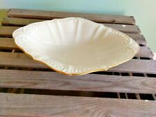 """Lenox Cream 11"""" long Oblong Bowl Gold-edged - Made in Usa"""