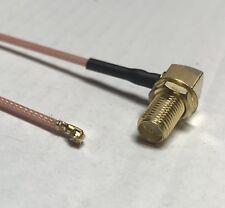 """6"""" RG178 RP SMA Angle to uFL/u.FL/IPX/IPEX RF Female Adapter Extension Cable USA"""