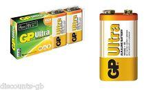 4 x 9v GP ULTRA ALKALINE GP6LR61 C1 BATTERY - 4 Batteries - Smoke Alarm Remote