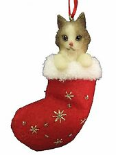 Himalayan Cat in Stocking Christmas Ornament-Santa's Little Pals-by E&S Pets