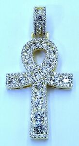 ICY ANKH CROSS CHARM BEST QUALITY 3 MM VVS1 CRYSTAL WITH TENNIS OR CUBAN CHAIN