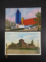 Vintage 1933 Lot of 2 Chicago Worlds Fair Century of Progress Postcards