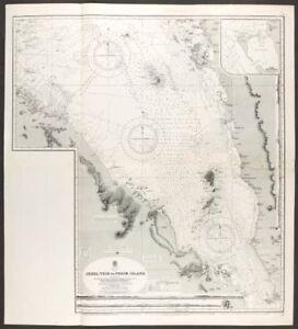 Red Sea. Bab-el-Mandeb strait.Admiralty nautical sea chart. Yemen 1930 old map