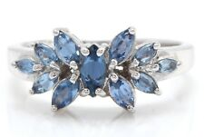 0.71 Carat Natural Blue Sapphire 14K Solid White Gold Women Solitaire Ring