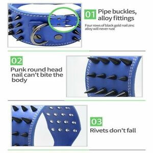 Spiked Dog Collar Leather Large Choker Rivet Resistant Adjustable Quick Release