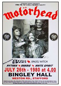 Motorhead Reproduction Concert Poster Bingley Hall Stafford 1980