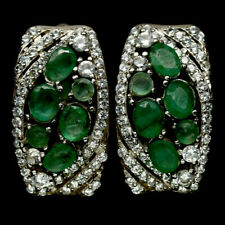 NATURAL GREEN EMERALD & WHITE CZ 925 STERLING SILVER EARRINGS