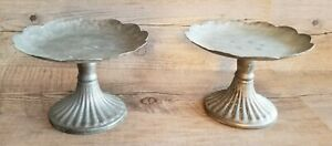 Candleholders Rustic Pillar Gray Metal Set of 2