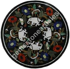 "34""x34"" Marble Round Top Coffee Table Elephant Floral Inlaid Art Christmas Gifts"
