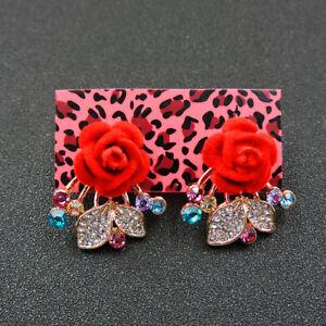 Betsey Johnson Rose Lovely Alloy Flower Crystal Women Stud Earrings