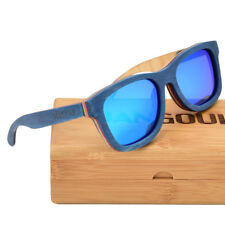 Handmade Natural Bamboo Sunglasses Polarized Blue Skateboard Wooden by JANGOUL
