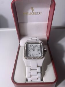 Peugeot Womens PS4897WT Swiss Ceramic Crystal White Dial Watch