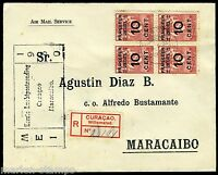 REGISTERED CURACAO COVER 5/6/30 TO MARACAIBO VENEZUELA 5/6/30