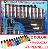 12 colori Acrilico +4 pennelli + Tavolozza.Acrilici per dipingere,micro pittura