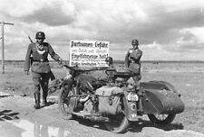 WWII B&W Photo German Motorcycle Troops 1941  WW2 /2083