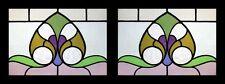 Art Nouveau Floral Pair Antique English Stained Glass Windows
