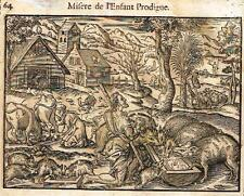 "Leclerc's Bible Figures - Woodcut - ""MISERE DE L'ENFANT PRODIGUE"" -1614"