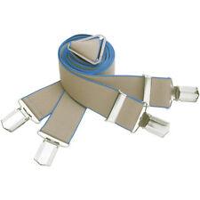 Hosenträger Herren beige blauer Rand 35 mm br Gr. 120  X-Form  4 Clips 7573-263