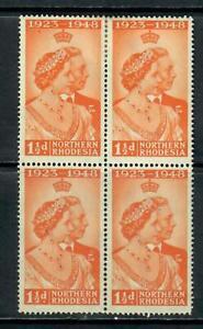 NORTHERN RHODESIA 1948 JUBILEE 1.5d BLOCK OF 4 MNH H