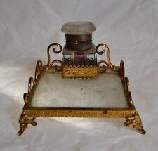 Ravissant Encrier XIXème - Verre et métal doré