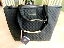 Adrienne Vittadini Black Quilted Tote Traveling Bag MSRP $380