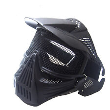 2PCS Tactical Airsoft Full Face Mask Safety Metal Mesh Goggles Protection CS New