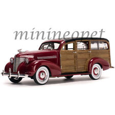 SUN STAR 6176 1939 CHEVROLET WOODY SURF WAGON SURF BOARD & REAL WOOD 1/18 RED