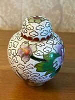 Antique Chinese  Bronze Cloisonne Floral Mini Ginger Jar