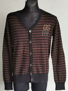 G-Star Raw original mens cotton long sleeve striped cardigan size L
