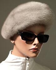 Chapeau Vison Fourrure Femmes Saphir Mink a vintage pelzhut toque Argenté Gris Noble
