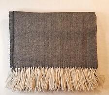 Lili - 100% Baby Alpaca Throw Blanket - Grey Herringbone