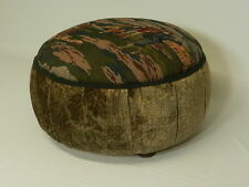 Golf Tapestry Ottoman with Pleated Floral Velvet Sides