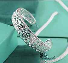 charming  silver Hollow out tracery Thick Charm Cuff Bracelet bangle Y21