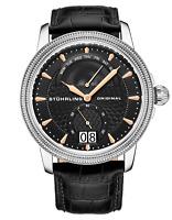 Stuhrling Men's Dress Swiss Quartz Watch Brushed Finish Guilloche Black Dial
