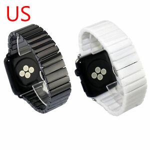 US Ceramic Link Bracelet for Apple Watch Band Series 6 5 4 3 44/40/42/38mm Strap