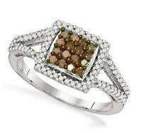 10K White Gold Chocolate Brown & White Diamond Ring Square Cluster Band .50ct