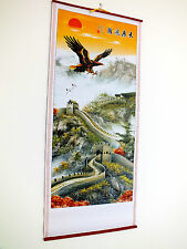 CHINESE CANE BAMBOO WALL HANGING SCROLL GREAT EAGLE PICTURE BIRTHDAY PARTY G1