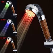 Alta presión LED Cabezas de ducha Mineral Iones Anión Temperatura Sensor Color