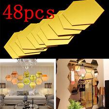 48Pcs  Mirror Hexagon Vinyl Removable Wall Sticker 3D Decal Home Decor Art DIY