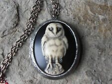 SPOOKY BARN OWL (HAND PAINTED) CAMEO ANTIQUED SILVER PLATED LOCKET, STEAMPUNK