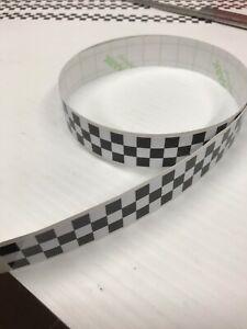 1 x 1m long x 30mm Black & White printed check sticker LAMINATED Vespa Lambretta