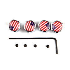 New Anti-Theft Tire Wheel Rims Stem Air Dust Valve Caps & Lock Screws USA Flag