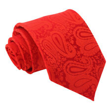 DQT Woven Floral Paisley Red Formal Wedding Mens Classic Tie
