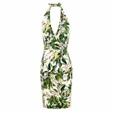 Authentic DOLCE & GABBANA White Green Lemon Blossom Floral Halter Dress 44 NWT