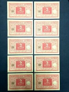 Authentic Germany 10 Two Mark 1920 Bill - Uncirculated - Consecutive Numbers